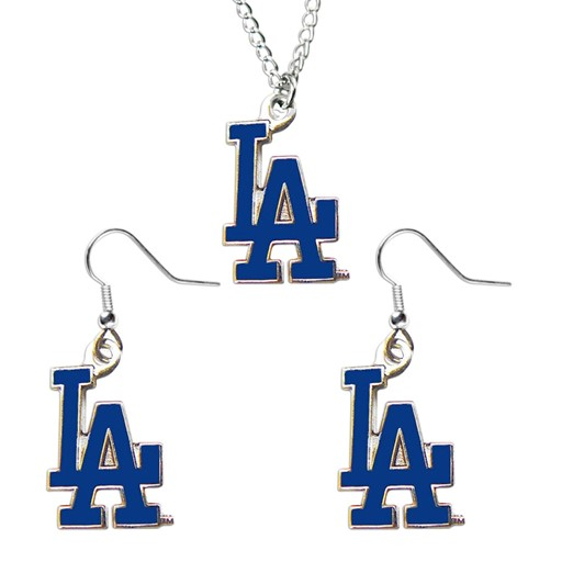 MLB LOS Angeles Dodgers Sports Team Logo Necklace And Dangle Earring Charm Set