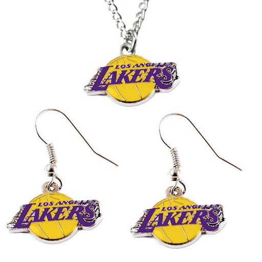 Sports Team Logo LOS Angeles Lakers Necklace and Dangle Earring Charm Set NBA
