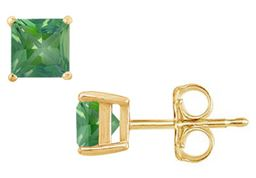 Created Emerald Stud Earrings Yellow Gold Vermeil 2.00 CT TGW