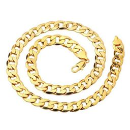 24K Yellow Gold Filled Men's necklace Solid Curb Link Chain24 inches
