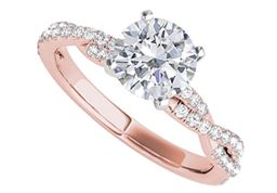 Criss Cross Design CZ Engagement Ring in 14K Rose Gold