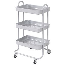 3-Tier Steel Rolling Kitchen Trolley Cart