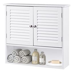 Double Doors Shelves Bathroom Wall Storage Cabinet