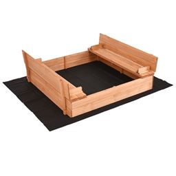 Kids Outdoor Foldable Retractable Sandbox with Bench Seat