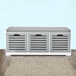 Haotian FSR23-HG, Grey Storage Bench with 3 Drawers & Padded Seat Cushion, Hallway Bench Shoe Cabinet Shoe Bench