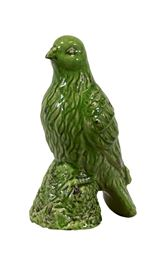 "Urban Trends  Ceramic Bird Figurine on a Tree Stump Gloss Finish Olive Green - 11.5""H"