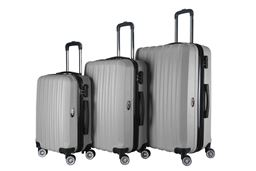 Brio Luggage Hardside Spinner Luggage Set #1600 - Silver