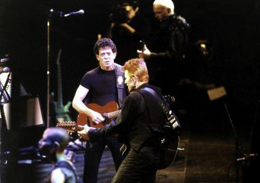 Lou Reed and David Bowie performing on stage Photo Print