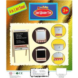 Omni Wooden Toys 969021 Double Sided 4 In1 Magnetic Art Easel