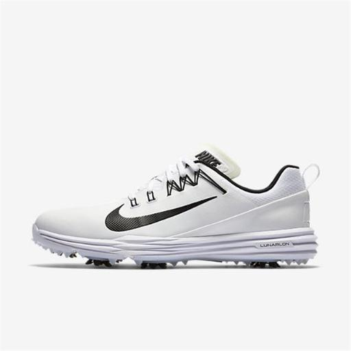 Nike Golf 849968-100-10 10 in. Nike Lunar Command 2 Golf Shoe - White Black, Medium