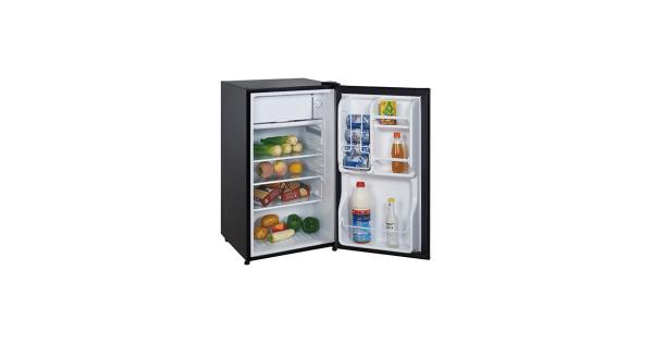 Magicchef refrigerator, 3.5 cu ft, black Refrigerator, MFG# MCBR350B2,  3.5 Cu. Ft., with freezer, manual defrost, black. With seven temperature settings, three glass shelves, door shelves, leveling legs, flush back fits close against walls, reversible door.