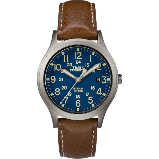 Timex corporation timex expedition mid size leather watch - blue dial tw4b11100jv