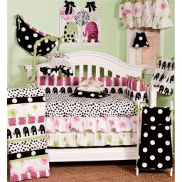 Cotton Tale HD7S Hottsie Dottsie 7 Pieces Crib Bedding Set - Black, Pink