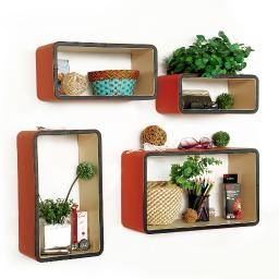 Sunset GlowRectangle Leather Wall Shelf / Bookshelf / Floating Shelf(Set of 4)