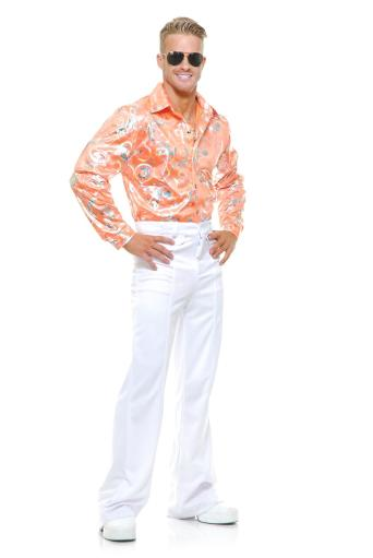 Mens Adult's 70S Metallic Shiny Pink Hologram Disco Shirt Pink, Tangerine Men L (42-44),Men M (40-42),Men S (36-38),Men XL (46-48),Men XS