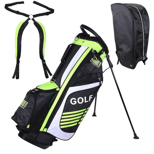 Men's Golf Club Bag 15x11x35' 600D Golf Carry Bag w/ 7 Pockets For Male Sport Golf Accessory Green