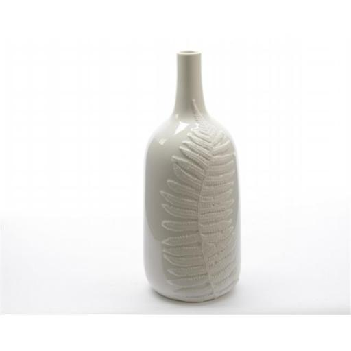 Northlight Seasonal 31521627 14.25 in. Botanic Beauty White Porcelain Flower Vase with Fern Leaf Relief