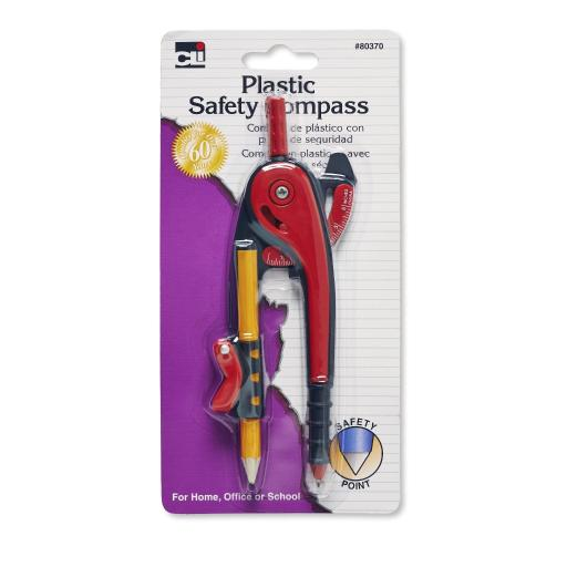 Charles Leonard, Inc. Safety Point Compass, Plastic, Assorted Colors, 1/Card(Pack Of 144)