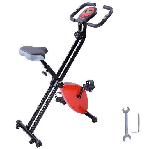 Red Folding Magnetic Exercise Bike LCD Display 2.5KG Cast Iron Flywheel Exercise Bike Resistance Adjustment