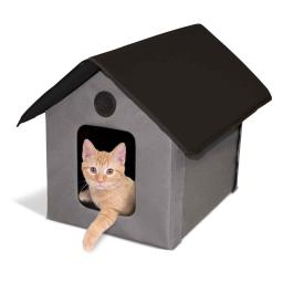 K&H PET PRODUCTS 3997 Gray / Black K&H PET PRODUCTS UNHEATED OUTDOOR KITTY HOUSE GRAY / BLACK 22 X 18 X 17