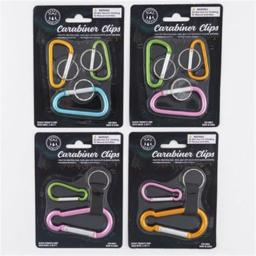 Dollardays 2318999 Carabiner Clip Set, Assorted Colors - Case of 48