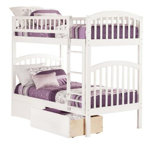 Richland Bunk Twin over Twin w/ 2 Urban Bed Drawers White MKR9GFSLNGQGOAGL