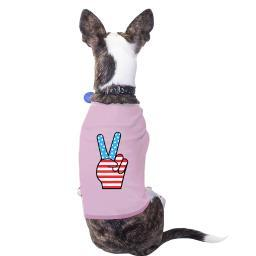 Peace Sign American Flag Pink Fourth Of July Dog Shirt Gift Ideas