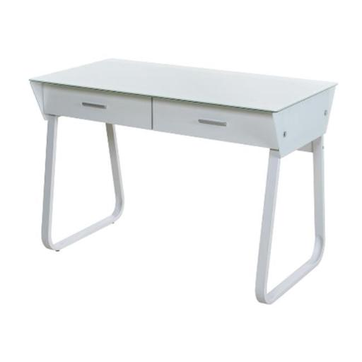 Comfort Products 50-JN1301 Ultramodern Glass Computer Desk with Drawers - White - 43.25 x 22.75 x 30.25 in.