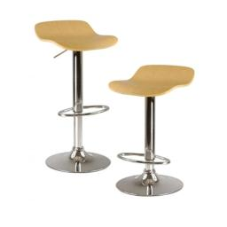 Winsome 93889 Kallie Air Lift Adjustable Stool in Natural- Set of 2