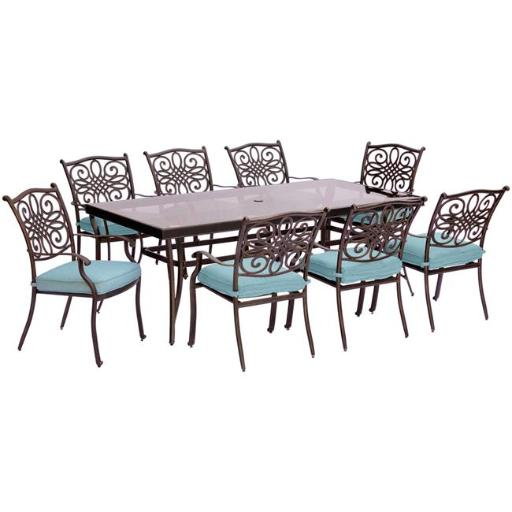 Hanover TRADDN9PCG-BLU Traditions Dining Set with Chairs & Glass Table - 9 Piece, Blue