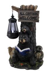 Little Critters Reading Bears Welcome Statue W/ Solar LED Lantern
