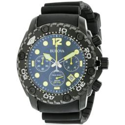 Sea King Rubber Chonograph Mens Watch, Black Dial
