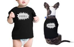 Double Trouble Pet Baby Black Tshirts Funny Matching Shirts Gifts