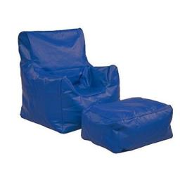 Early Childhood Resources ELR-12803-BL Bean Bag Chair & Ottoman Set, Blue
