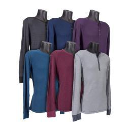 Mens Long Sleeve Henley Shirt, Comfortable Cotton-Poly Blend