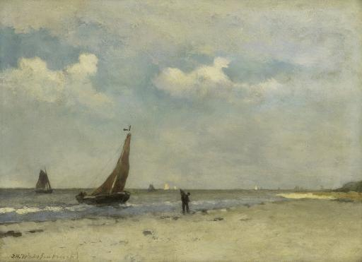 Beach Scene, By Johan Hendrik Weissenbruch, C. 1870-1903, Dutch Painting, Oil On Panel. Small Fishing Boats On The Water, And A Fisherman Walking.