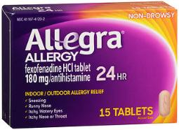 Allegra Allergy 180 Mg Tablets 24 Hour - 15 Ct., Pack Of 4