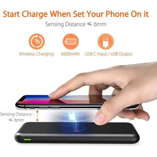 Jackery AirRocket Fast Charging 6000mAh Quick Charge Portable Power Bank, Black