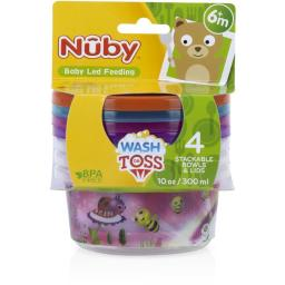 DDI 1988307 Nuby? Print Wash or Toss Bowls with Lids 10 oz 4-Pack Case of 72