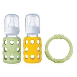 Lifefactory Baby Bundle BPA-Free 2pk 4oz Glass Bottle and Silicone Teether-Green