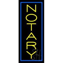 Sign Store N100-5860-outdoor Vertical Yellow Notary Blue Border Outdoor Neon Sign, 13 x 32 x 3.5 In.