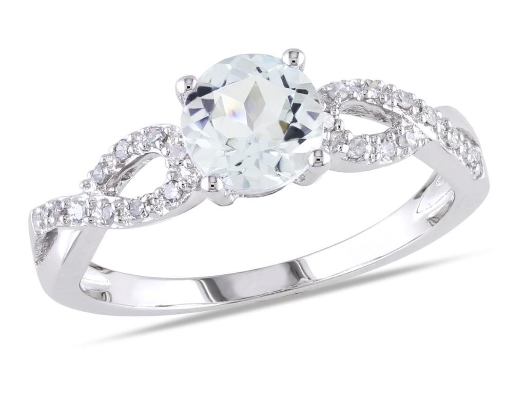 Aquamarine Infinity Ring 6/7 Carat (ctw) with Diamonds in 10K White Gold