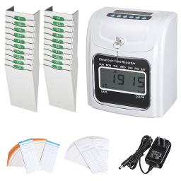Employee Attendance Punch Time Clock Payroll Recorder Kit with 100 Cards & 2pcs Retractable 10-Pocket Time Card Racks
