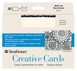 Strathmore / pacon papers 10517 creative card white / black deckle edge 20 pack 5x6.875