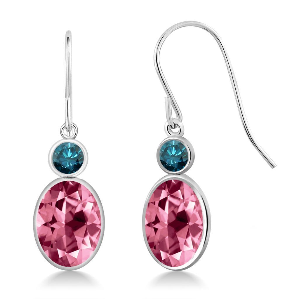14K White Gold Diamond Earrings Set with Oval Pink Topaz from Swarovski