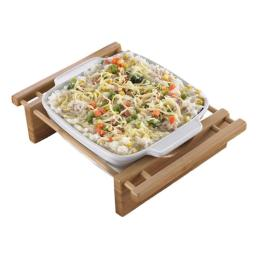 EVCO International 73456 BAMBOO & STONEWARE Grand Buffet 9 in. Square Bakeware Dish with Bamboo Cradles 73456