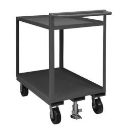 Durham RSCR-2436-95 36 x 24 x 43.75 in. 2 Shelf Rolling Stock Cart with Raised Handle & All Lips Up, Gray RSCR-2436-95