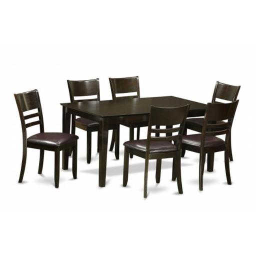 East West Furniture CALY7-CAP-LC 7 Piece Formal Dining Room Set-Dinette Table and 6 Dining Room Chairs