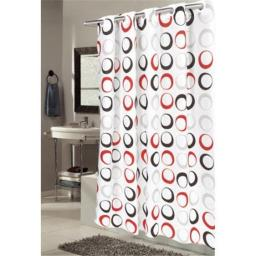 Carnation Home Fashions SCEZ-CIR-16 Ez-On Circles Polyester Shower Curtain, White, Black & Red