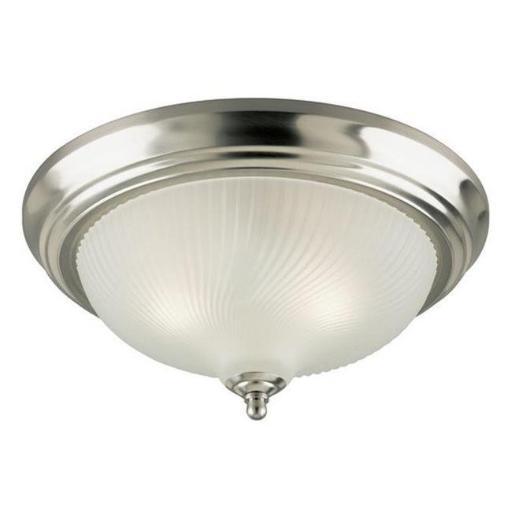 Westinghouse 6430500 Two Light Indoor Flush Mount Ceiling Fixture, Brushed Nickel with Frosted Swirl Glass